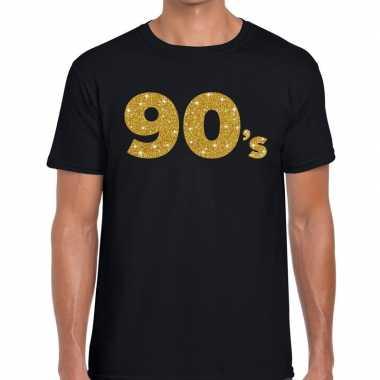 's gouden glitter tekst t shirt zwart heren