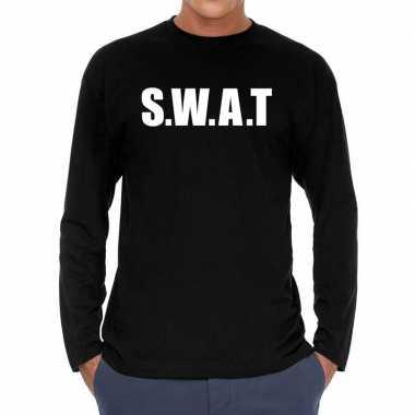 S.w.a.t. politie long sleeve t shirt zwart heren