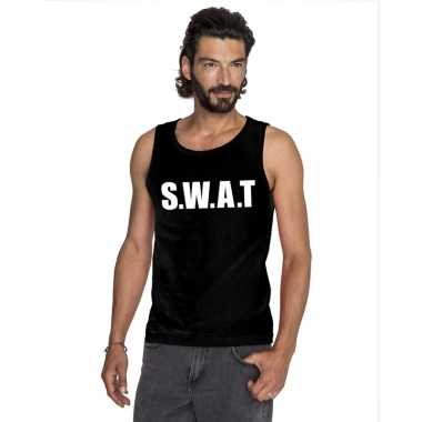 S.w.a.t tekst singlet shirt/ tanktop zwart heren