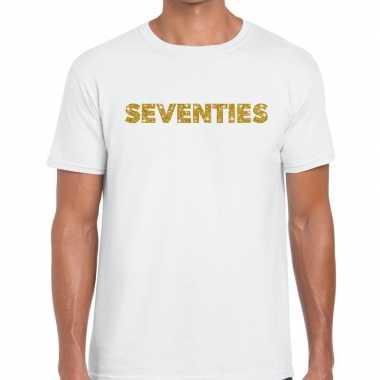 Seventies goud glitter tekst t shirt wit heren