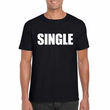 Single/ vrijgezel tekst t shirt zwart heren