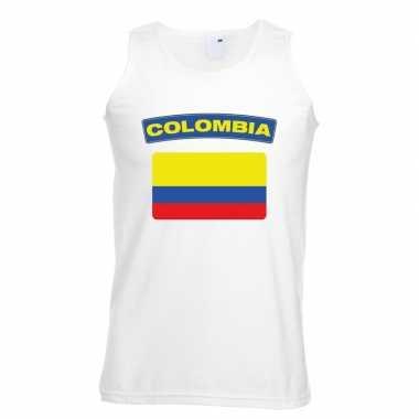 Singlet-shirt tanktop colombiaanse vlag wit heren
