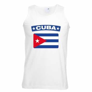 Singlet-shirt tanktop cubaanse vlag wit heren