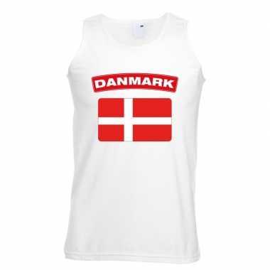 Singlet shirt/ tanktop deense vlag wit heren
