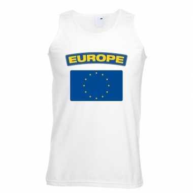 Singlet-shirt tanktop europese vlag wit heren