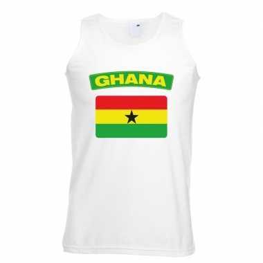 Singlet shirt/ tanktop ghanese vlag wit heren