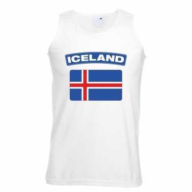 Singlet shirt/ tanktop ijslandse vlag wit heren