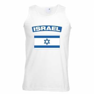 Singlet shirt/ tanktop israelische vlag wit heren