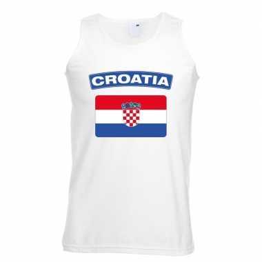 Singlet shirt/ tanktop kroatische vlag wit heren