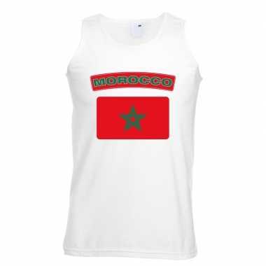 Singlet shirt/ tanktop marokaanse vlag wit heren