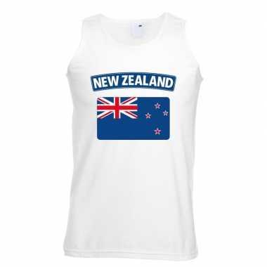 Singlet-shirt tanktop nieuw zeelandse vlag wit heren