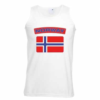 Singlet shirt/ tanktop noorse vlag wit heren