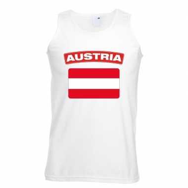 Singlet shirt/ tanktop oostenrijkse vlag wit heren