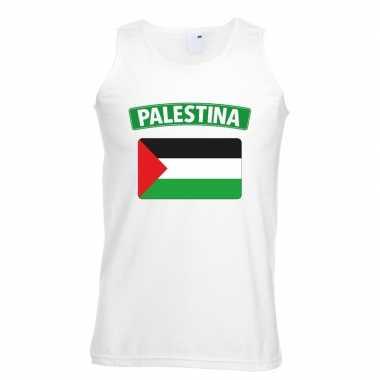 Singlet-shirt tanktop palestijnse vlag wit heren