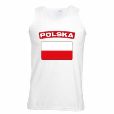 Singlet shirt/ tanktop poolse vlag wit heren