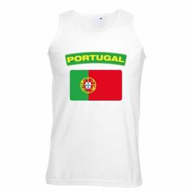 Singlet shirt/ tanktop portugese vlag wit heren