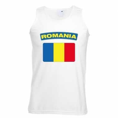 Singlet shirt/ tanktop roemeense vlag wit heren