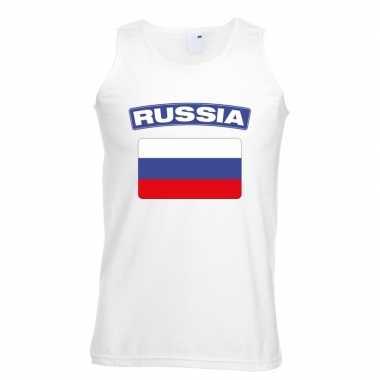 Singlet shirt/ tanktop russische vlag wit heren