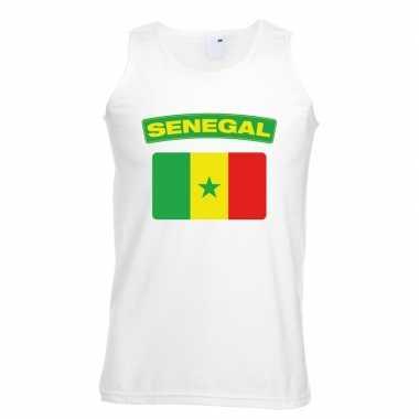 Singlet-shirt tanktop senegalese vlag wit heren