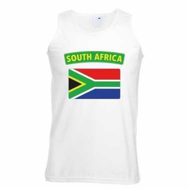 Singlet-shirt tanktop zuid afrikaanse vlag wit heren