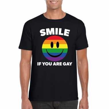 Smile if you are gay emoticon shirt zwart heren