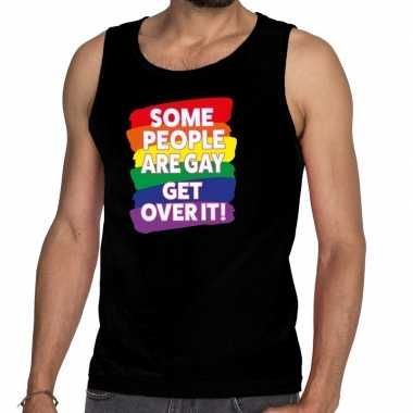 Some people are gay get over it gay pride tanktop/mouwloos shirt