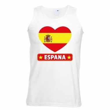 Spanje hart vlag singlet shirt/ tanktop wit heren
