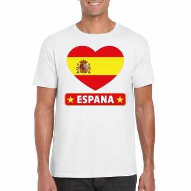 Spanje hart vlag t shirt wit heren