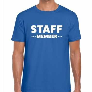 Staff member / personeel tekst t shirt blauw heren