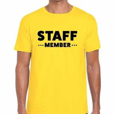 Staff member / personeel tekst t shirt geel heren