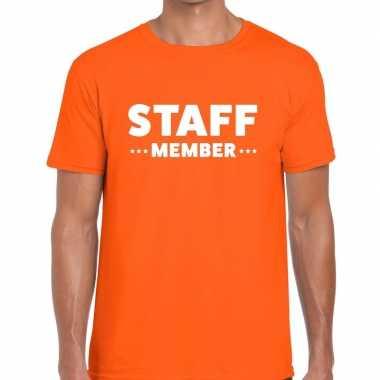 Staff member / personeel tekst t shirt oranje heren