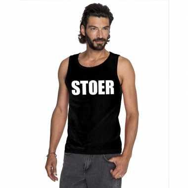 Stoer tekst singlet shirt/ tanktop zwart heren