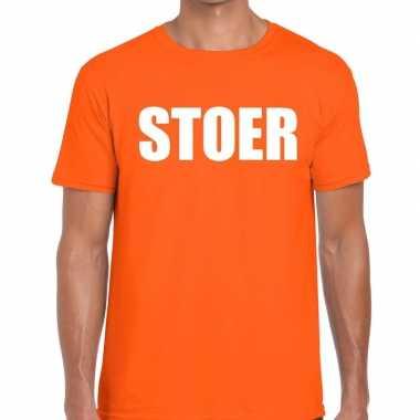 Stoer tekst t shirt oranje heren