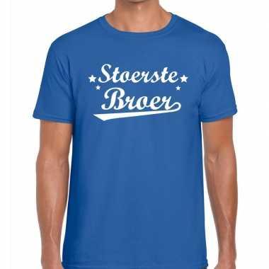 Stoerste broer cadeau t shirt blauw heren