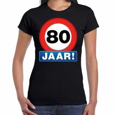 Stopbord jaar verjaardag t-shirt zwart dames 10218355
