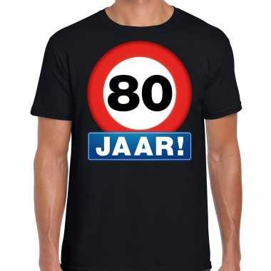 Stopbord jaar verjaardag t-shirt zwart heren 10218340