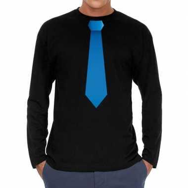 Stropdas blauw long sleeve t shirt zwart heren