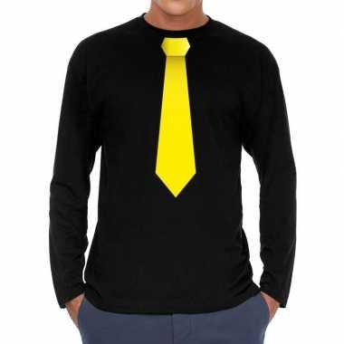Stropdas geel long sleeve t shirt zwart heren