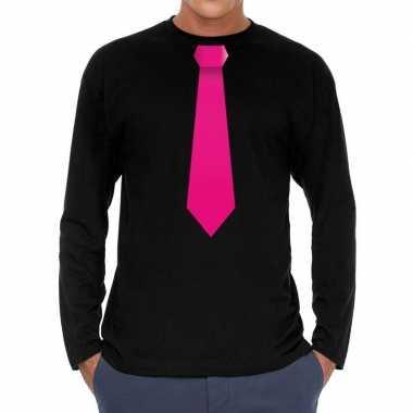Stropdas roze long sleeve t shirt zwart heren