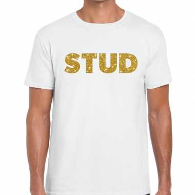 Stud goud glitter tekst t shirt wit heren