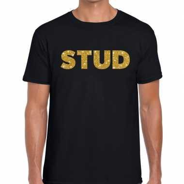 Stud gouden glitter tekst t shirt zwart heren