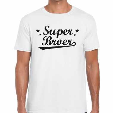 Super broer cadeau t shirt wit heren