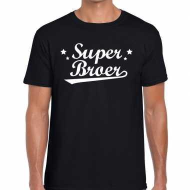 Super broer cadeau t shirt zwart heren
