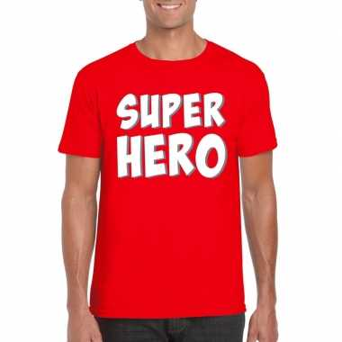 Super hero tekst t shirt rood heren