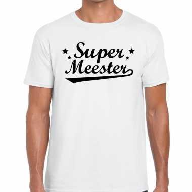 Super meester tekst t shirt wit heren