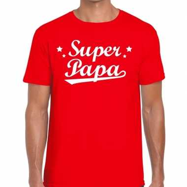 Super papa cadeau t shirt rood heren