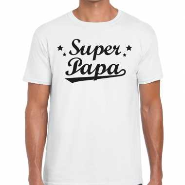 Super papa cadeau t shirt wit heren