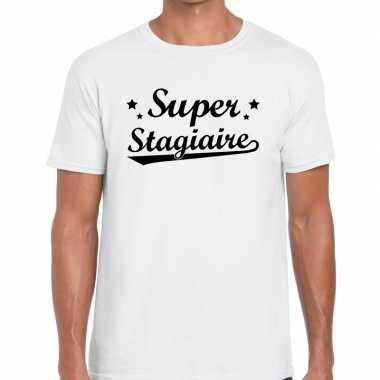 Super stagiaire cadeau t shirt wit heren