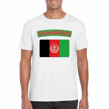 T shirt afghaanse vlag wit heren