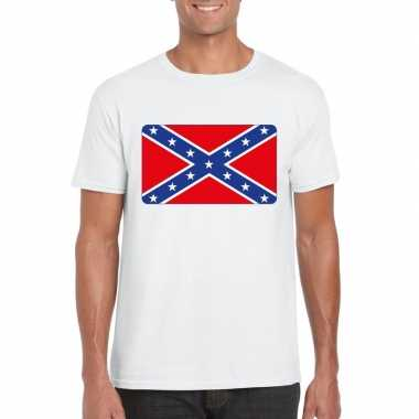 T shirt amerikaanse zuidelijke staten vlag wit heren
